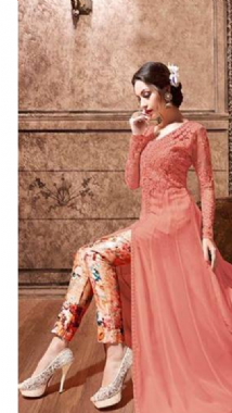 Dashing Dusky Pink  Floral Lehenga Trouser Suit